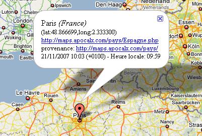 Exemple de géolocalisation en temps réel sur ApocalX Spy